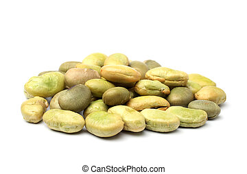 Roasted soya beans with wasabi sauce on white background