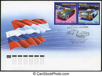 RUSSIA - CIRCA 2013: A stamp printed in Russia shows Sunbeam Alpine and ZIL-111V, history of Automobile Production, a Joint Issue of Russia and Monaco, circa 2013