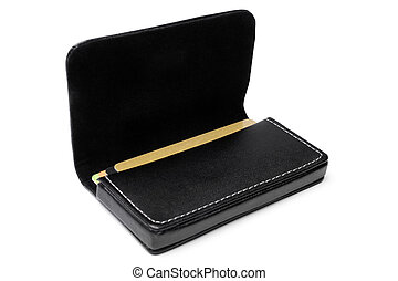 Leather visiting card holder on white background