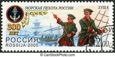 RUSSIA - CIRCA 2005: A stamp printed in Russia shows First...