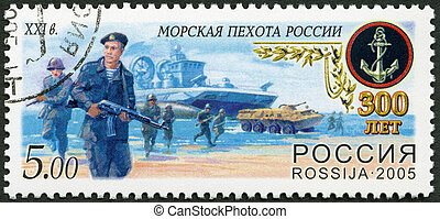 RUSSIA - CIRCA 2005: A stamp printed in Russia shows Modern...