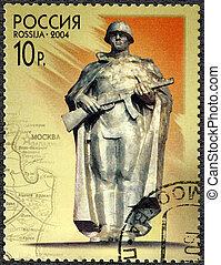 RUSSIA - CIRCA 2004: A stamp printed in Russia shows statue...