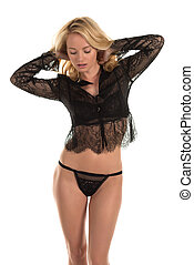 Black lingerie - Beautiful young Hungarian blonde in black...