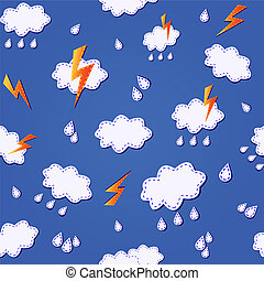 blue seamless pattern with clouds