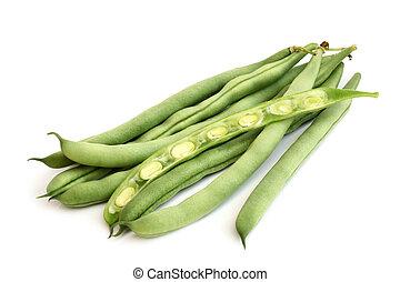 String beans on white background