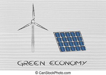 renewable energy: wind park turbine and solar panel - green...