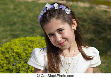 Young girl in her First Communion