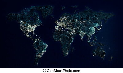 world at night glow track - World map islands of the ocean