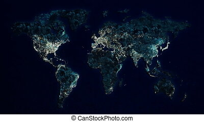 world at night - World map islands of the ocean