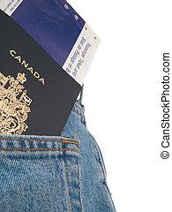 &, 系列,  -, 背, 口袋, 護照, 票