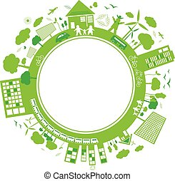 Think green concepts design on white background