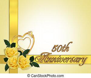 matrimonio, anniversario, giallo, rose, 50th
