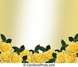 Ślub, zaproszenie, Żółty, Róże, brzeg