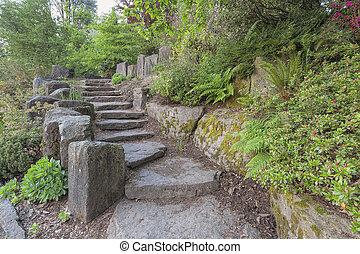 Garden Stair Steps with Natural Rocks - Garden Stone Stair...