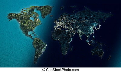 world day to night - World map islands of the ocean