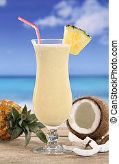 Pina, Colada, cóctel, frutas, playa