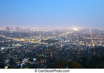 Los Angeles skyline downtown at night