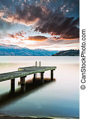 Sunset on Scenic Mountain Lake