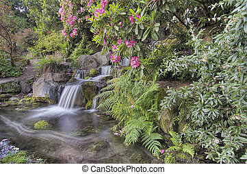 Garden Waterfall in Spring - Garden Waterfall with Blooming...