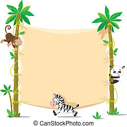 Banner on two palm tree with small funny animals - Template...