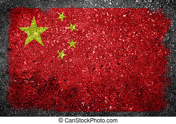 Chinese Flag Painted on Concrete - Flag of Peoples Republic...