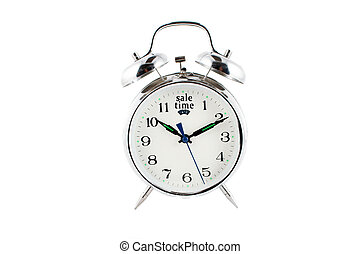 sale alarm clock - small alarm clock isolated on a white...