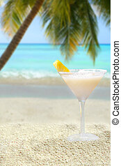 tropical drink - a tropical pina colada drink with pineapple...