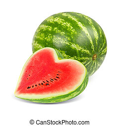 Watermelon - Photo of watermelon with slice in a heart shape...