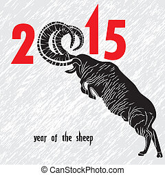 Chinese symbol vector goat 2015 year illustration image...