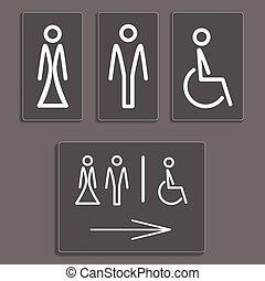 toilet icons, vector illustration. - Vector Man, Woman and...