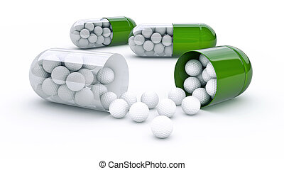 capsule with golf balls - Design made in 3D