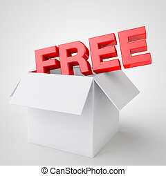 the word free coming out of a box white, special offer