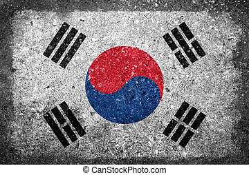 South Korean Flag Painted on Concrete Wall
