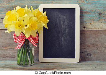 Framed blackboard with daffodils - Small wooden framed...