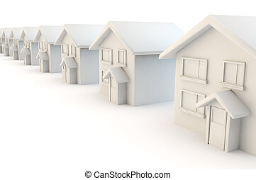 row of street of white houses - 3d render of a line of...