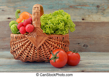 Vegetables in the wicker basket