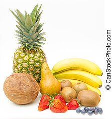 Mixed fruit arranged on white background