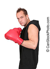 male boxer - one young adult man boxer working out over...