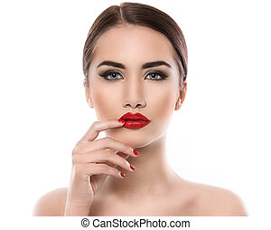 Attractive woman with red lipstick - Gorgeous girl with red...