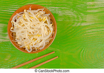 Soy sprouts and chopsticks