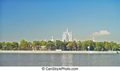 Beautiful Smolny cathedral under autumn sky
