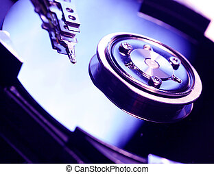Hard Disk Drive - Close Up of a hard disk drive internals