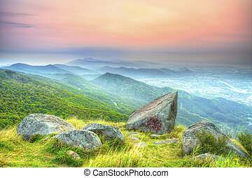 Sunset at mountain landscape in Hong Kong
