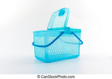 Plastic basket - Plastic basket on isolated white background...