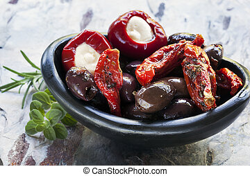 Antipasto in Black Bowl - Antipasto in black bowl. Olives,...