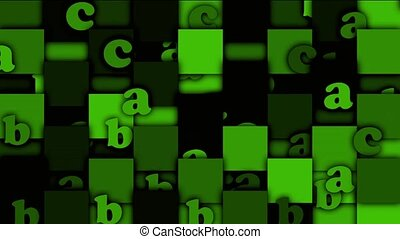 green cartoon alphabet paper card on square mosaics,Children spelling game.