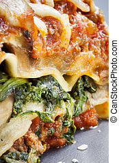 Spinach Lasagne - Closeup of slice of spinach lasagna...