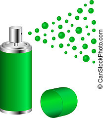 Spray in green design on white background