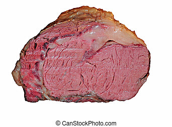 prime rib - roasted prime rib isolated on white