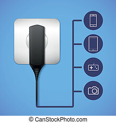 Charger into an electrical outlet Electronic gadget closeup...